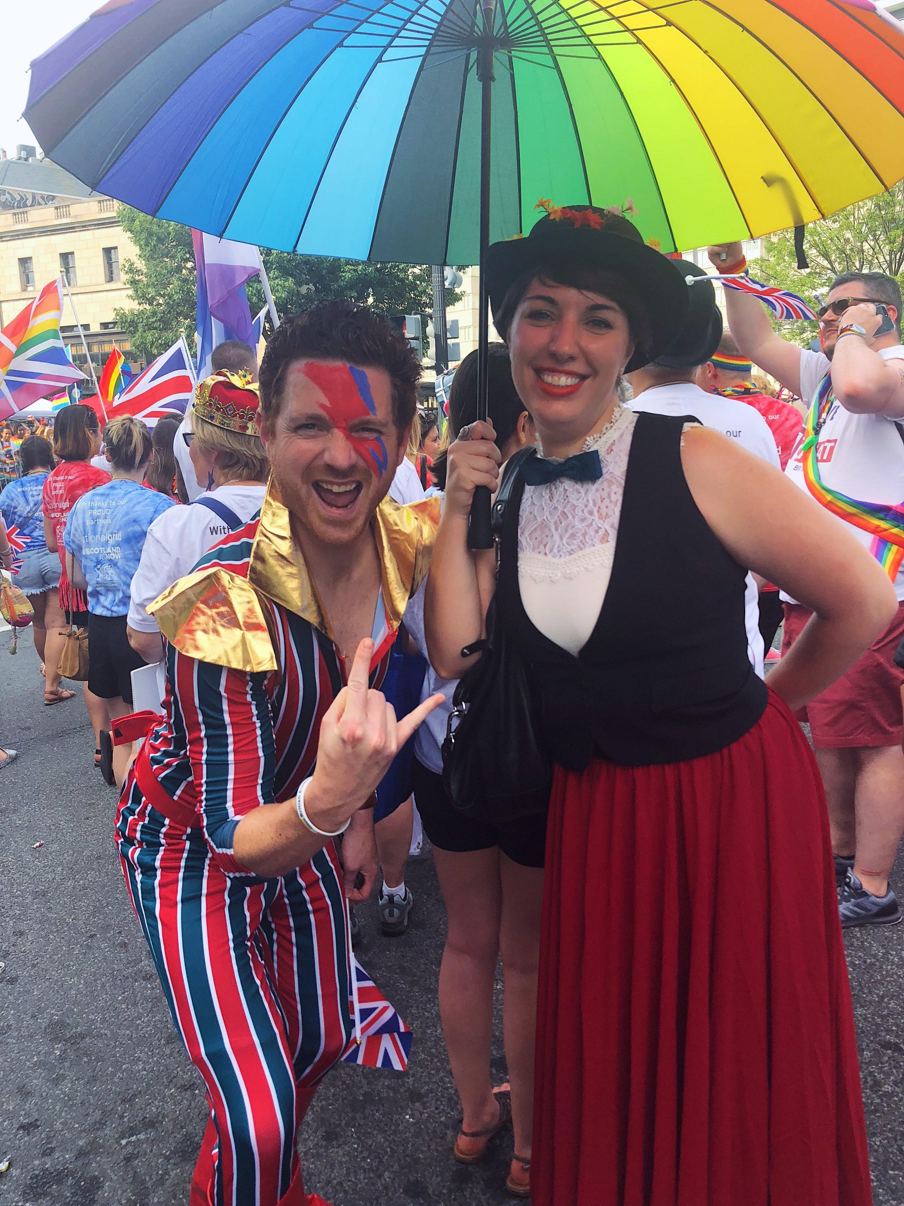 David Bowie and Mary Poppins underneath a rainbow umbrella. Photograph by Daniella Byck.