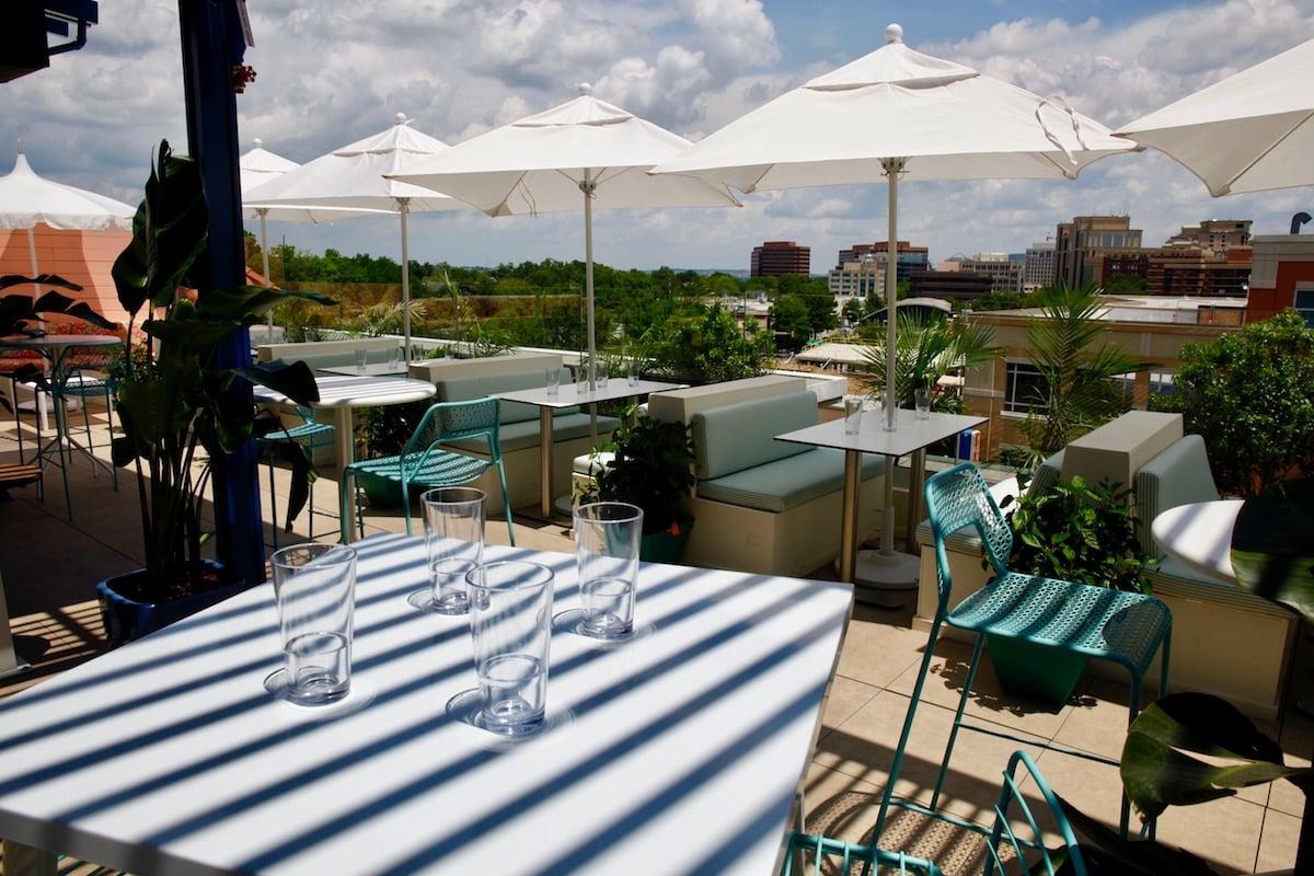 Buena Vida Social Club rooftop bar restaurant Clarendon outdoor rooftop dining drinking.