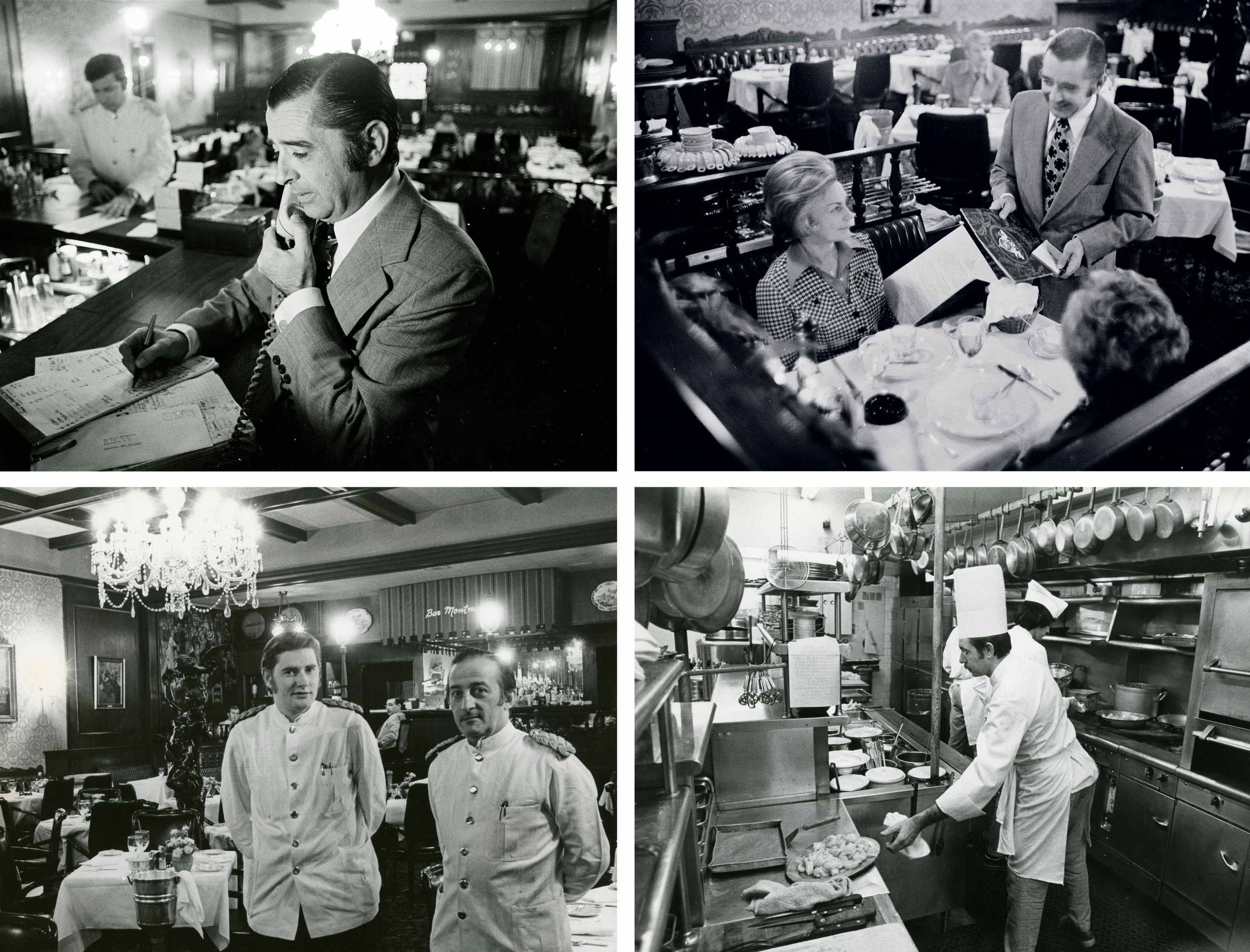 Top left: The French maître d', Paul Delisle, was gatekeeper, turning away the hoi polloi—and even celebs who weren't properly dressed. Top photographs by Dennis Brack Photographic Archive/Dolph Briscoe Center for American History at The University of Texas at Austin. Bottom: A four-course meal at the bistro in 1965 cost the equivalent of $75 today. The menu was filled with French classics—beef tartare, sole amandine, crêpes suzette. Bottom photographs reprinted with permission of D.C. Public Library, Star Collection © Washington Post.