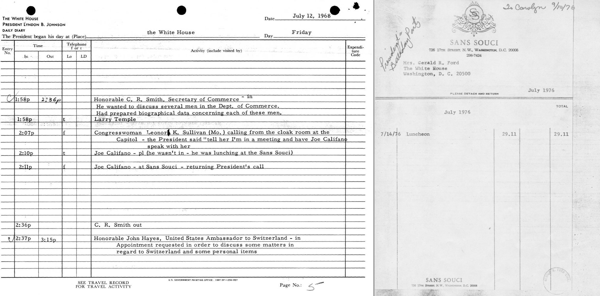 Documents courtesy of Gerald R. Ford Presidential Library and Lyndon B. Johnson Presidential Library.