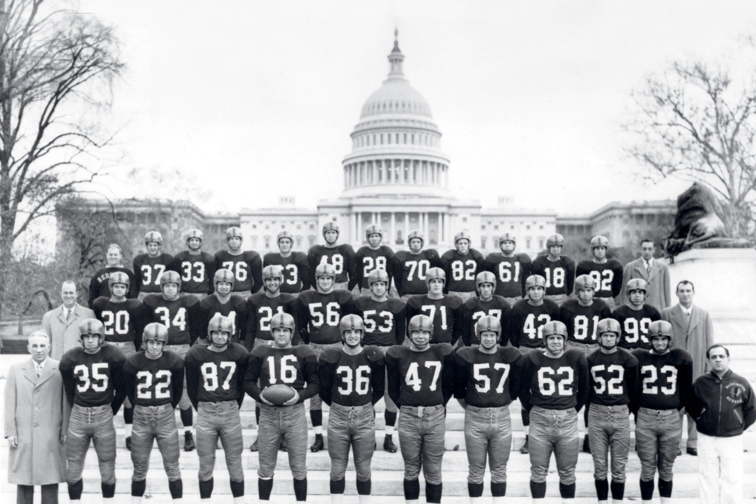 Washington's football squad in 1950, when it had a 3–9 record. Photograph by AP Photo/Pro Football Hall of Fame.