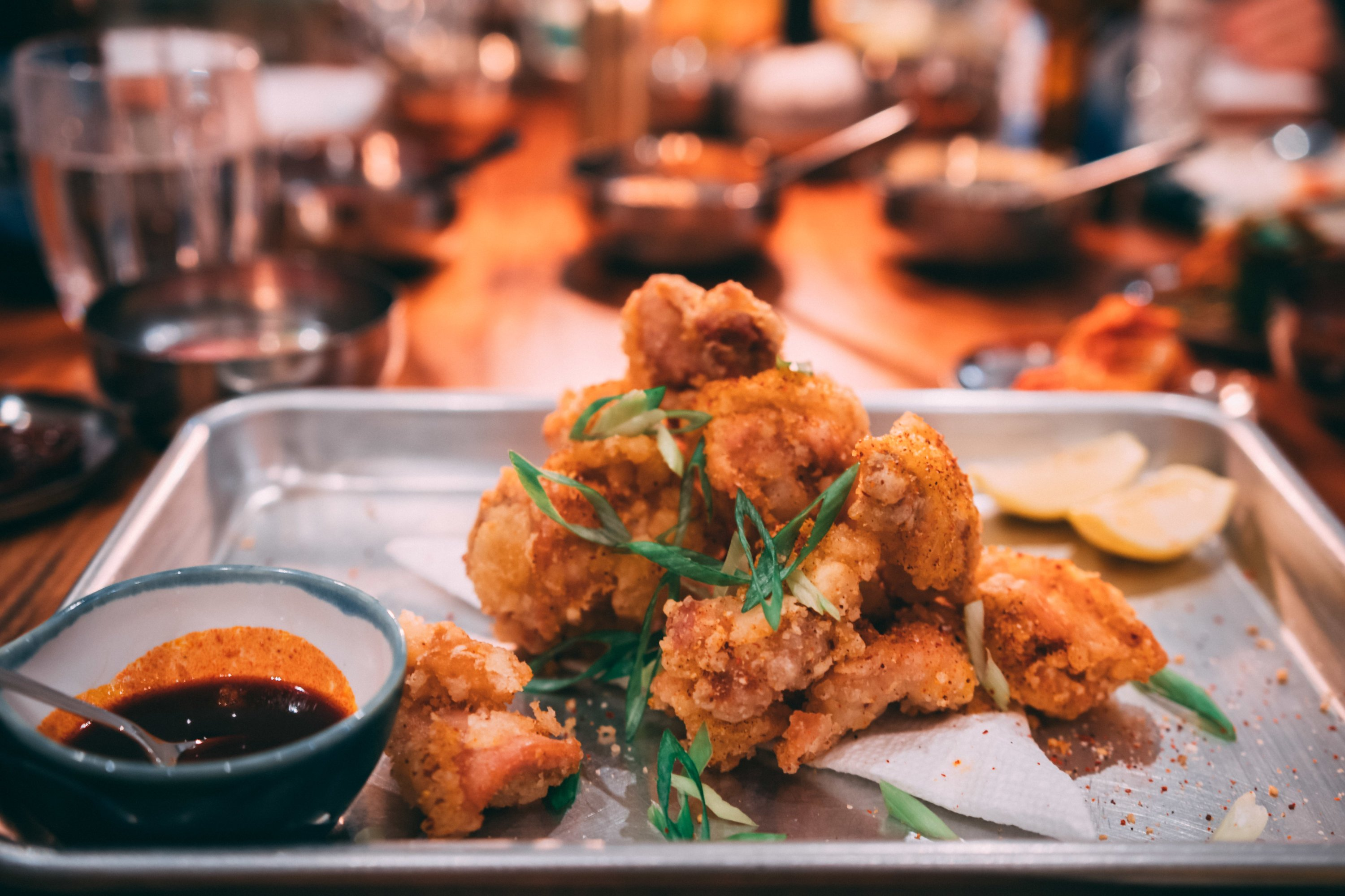 Anju is the Korean term for food that's meant to be eaten with alcohol, like this fried chicken.