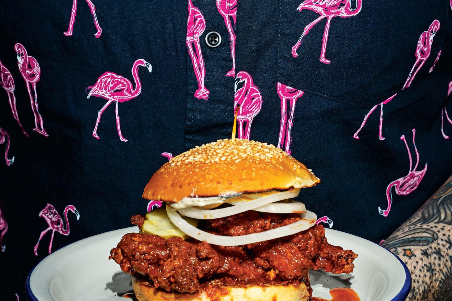 Fried chicken sandwich at Lucky Buns. Photograph by Scott Suchman.
