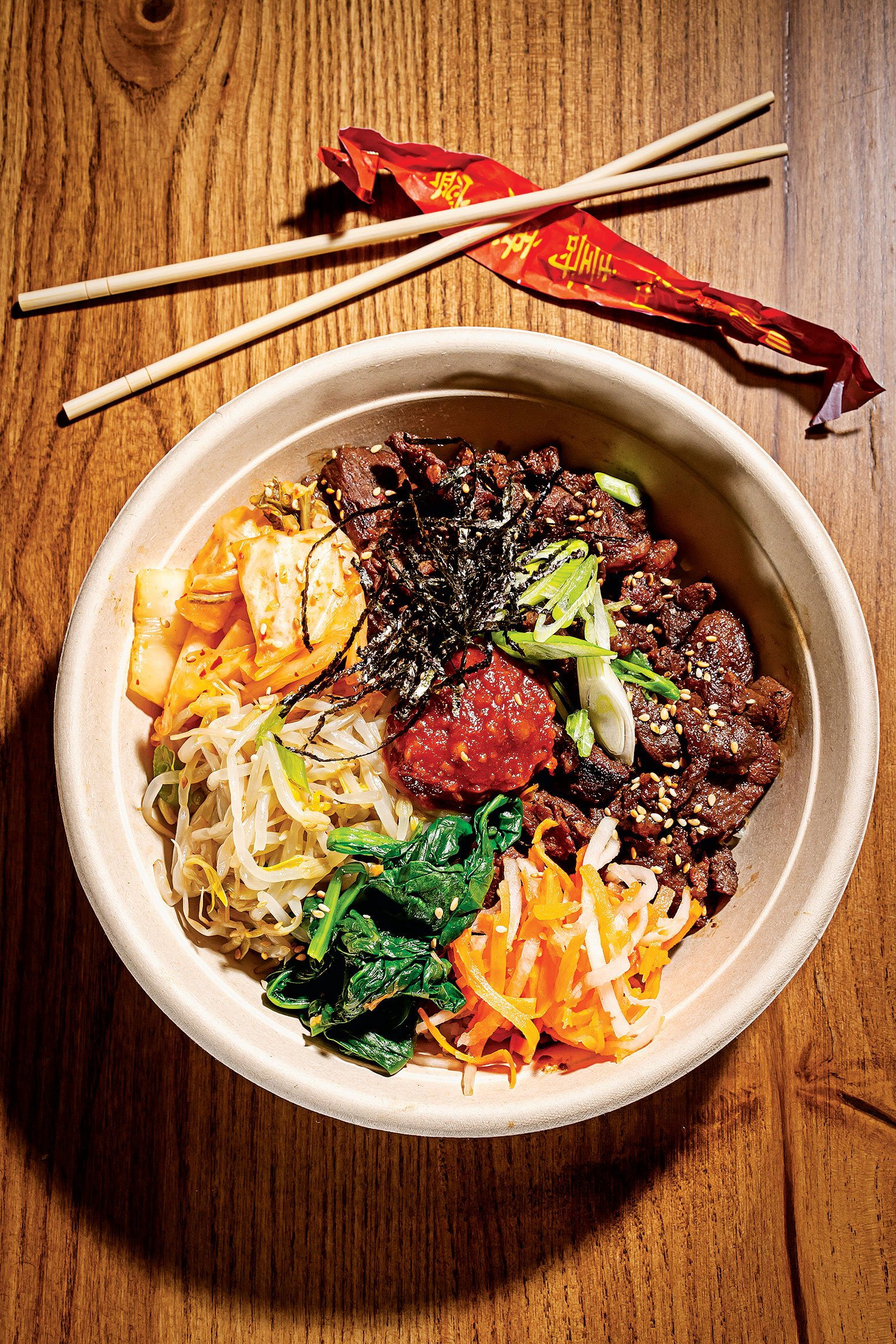 Korean barbecue beef bowl at Rice Crook.