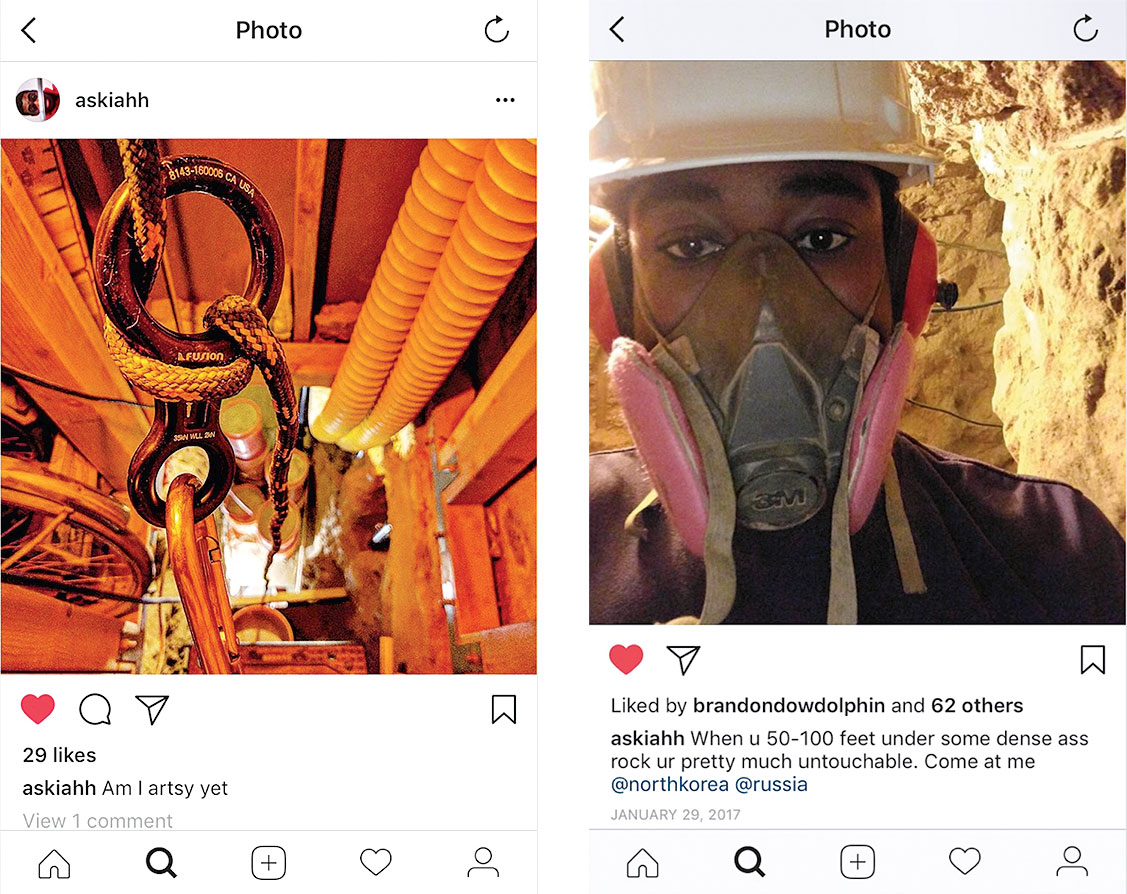 Two of Askia's Instagram posts from the tunnels. Photographs courtesy of Montgomery County Circuit Court and Khafra Family.