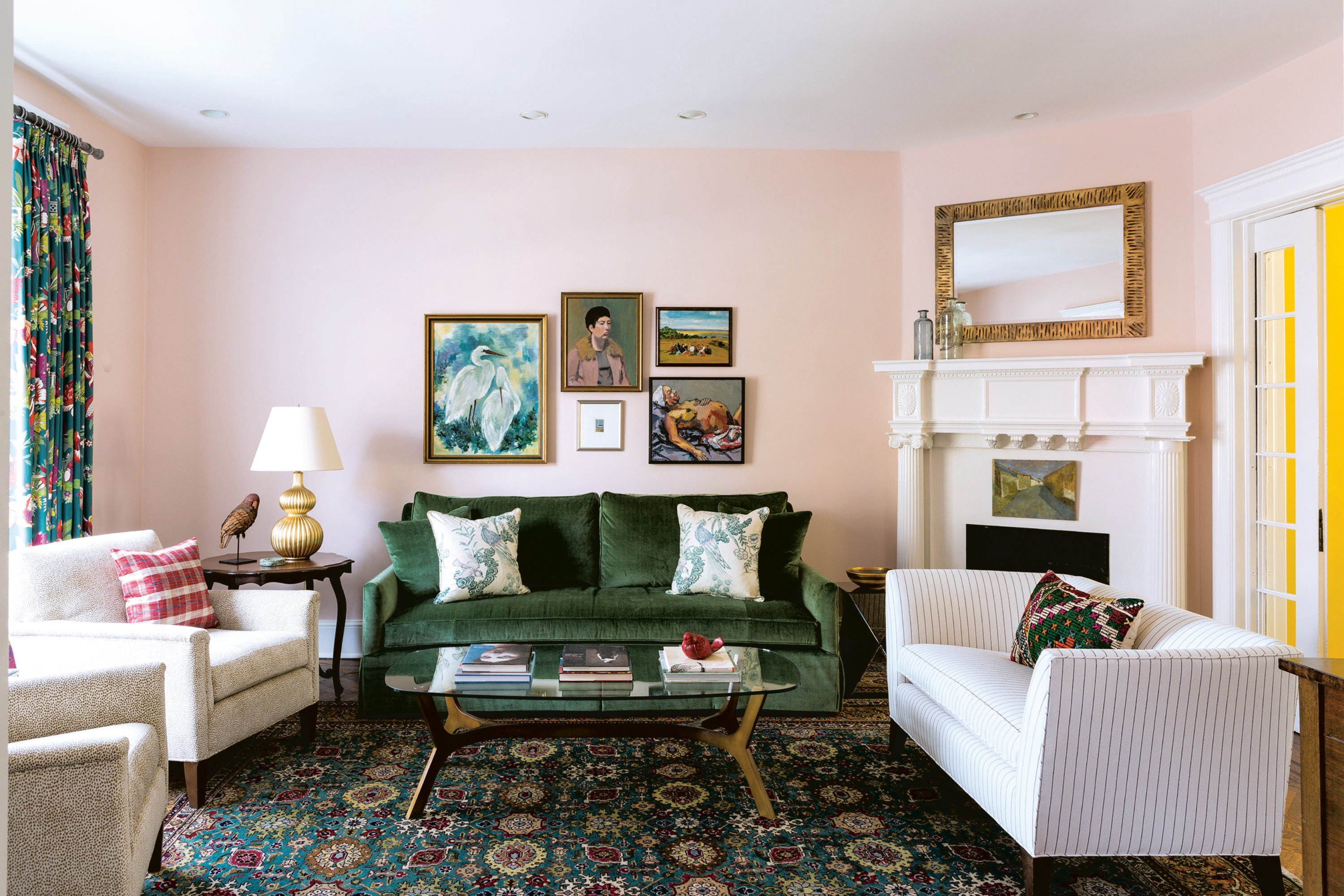 "The paint in the living room is Benjamin Moore's ""Pink Moiré."" Photograph by Angie Seckinger."