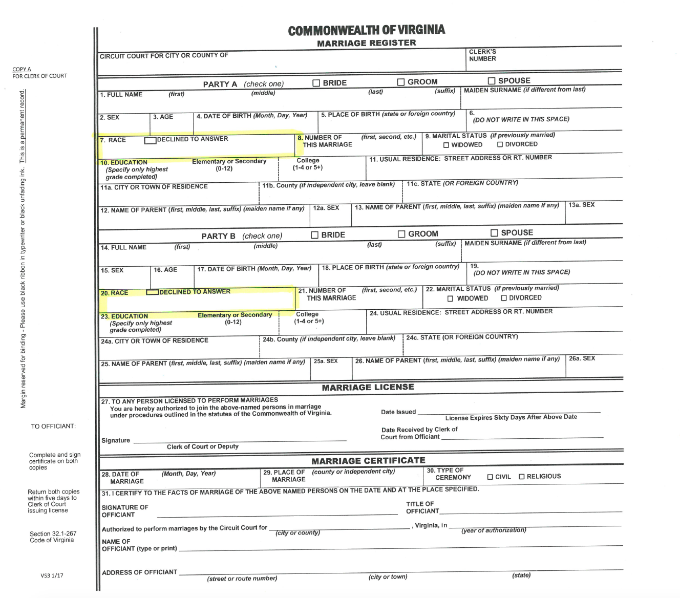 Couples Can Now Decline to List Their Race on Virginia Marriage License Applications