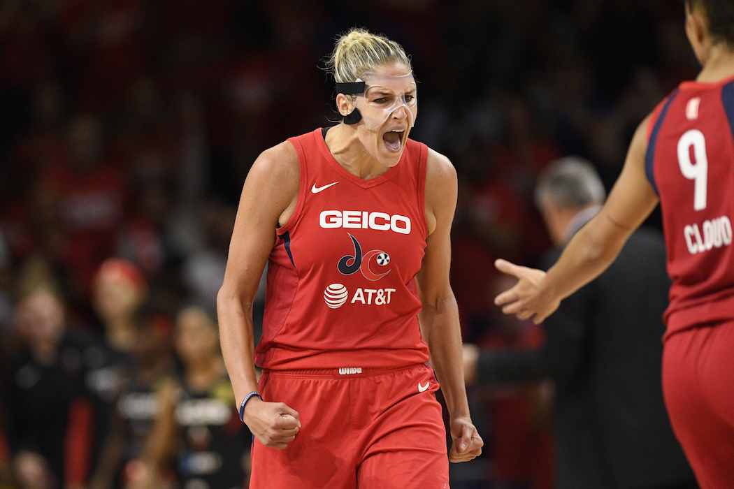 Washington Mystics forward Elena Delle Donne reacts after she made a basket against the Las Vegas Aces during the second half of Game 1 of a WNBA playoff basketball series Tuesday, September 17, 2019. The Mystics won 97-95. (AP Photo/Nick Wass)
