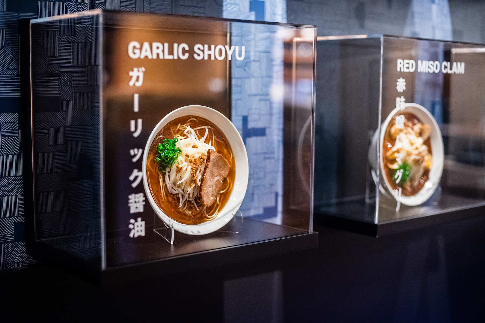 Life size models of each ramen were created in Japan. Photo by Rey Lopez.