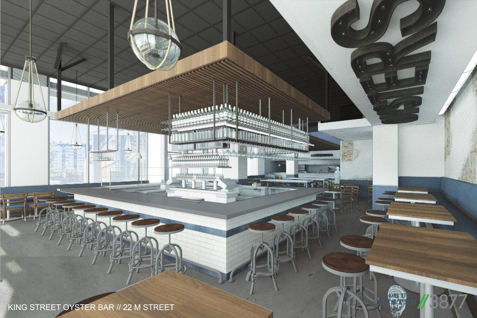 """A rendering of the restaurant with an open bar and giant """"oysters"""" sign. Courtesy of King Street Oyster Bar."""