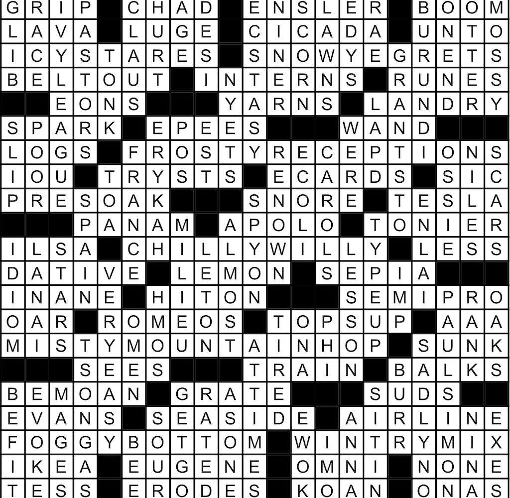 October 2019 Crossword Answer Key