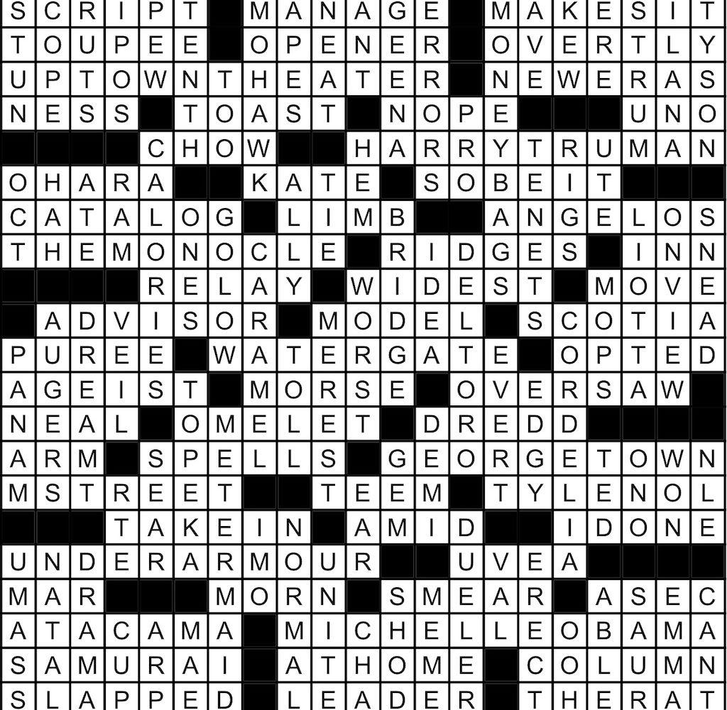 December 2019 Crossword Answer Key Washingtonian Dc