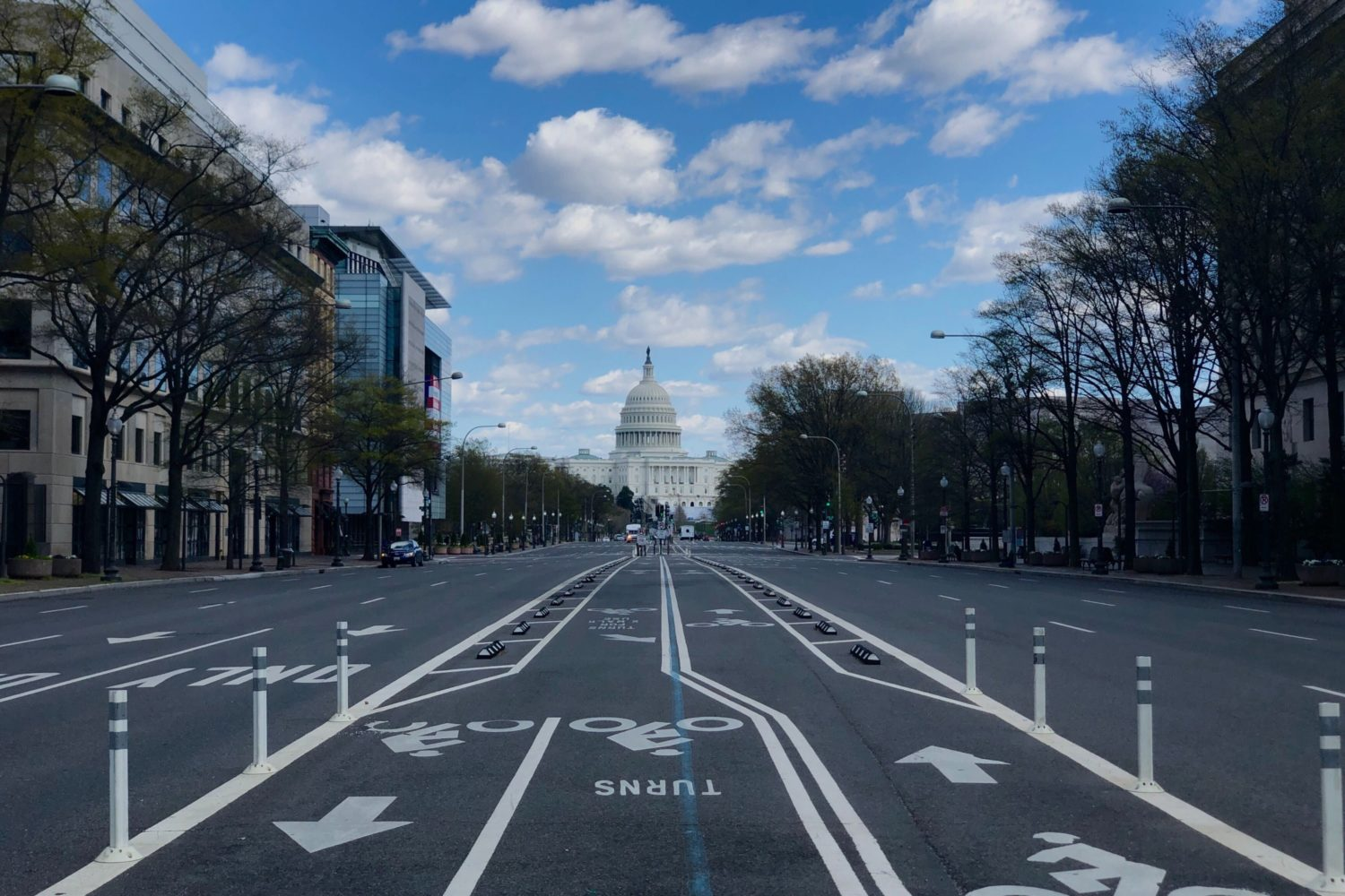 A deserted street in Washington, DC. Photo by Evy Mages.