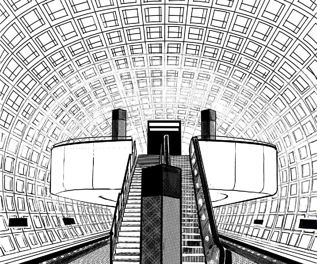 You can color in the Gallery Place/Chinatown Metro station. Illustrated by Carlos Carmonamedina.