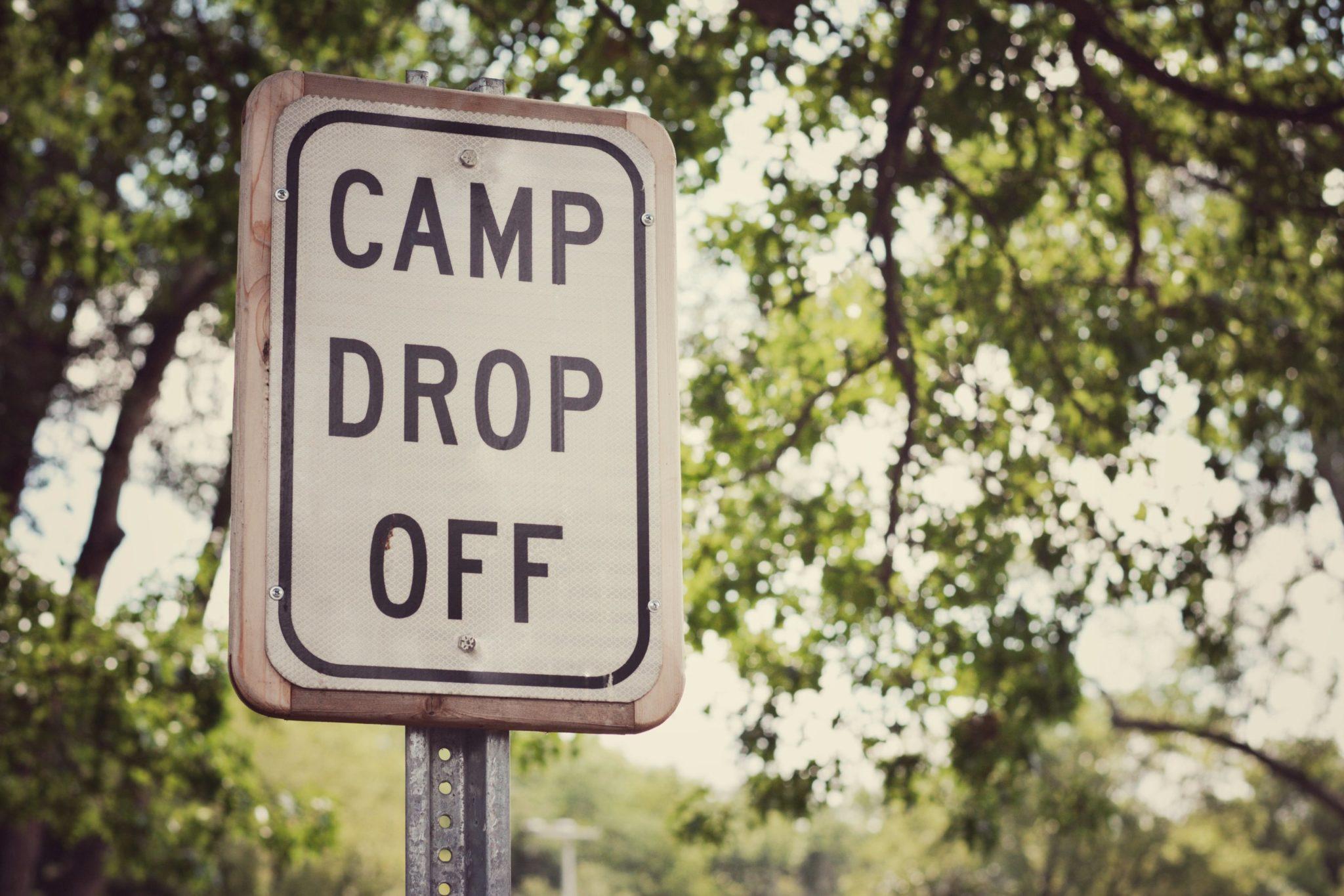 Summer camp drop off sign