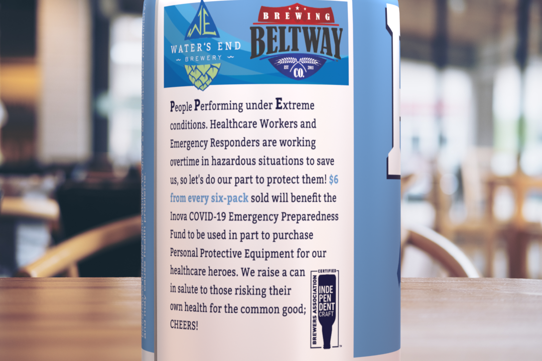 The beer is a fundraiser for the Inova Covid-19 Emergency Preparedness Fund. Photo courtesy of Water's End Brewery.