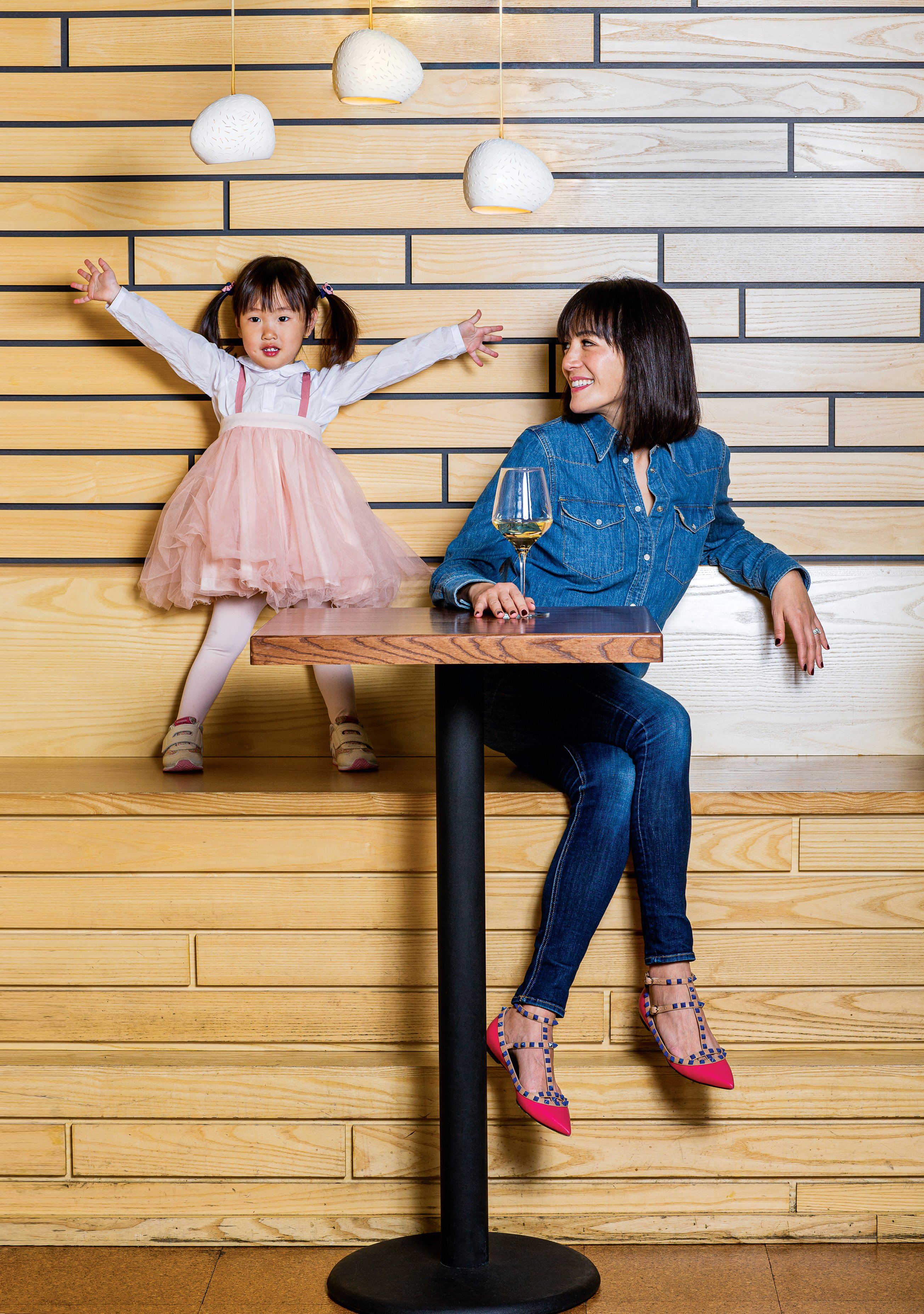 Flight Wine Bar was funded in large part by Patty Sung and her husband. The family is a fixture there, three-year-old daughter included. Photographed at Flight Wine Bar.