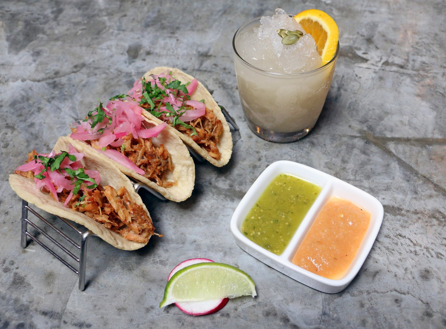 Taqueria del Barrio is reopening on Cinco De Mayo with carryout tacos and margaritas. Photo courtesy of Taqueria del Barrio.