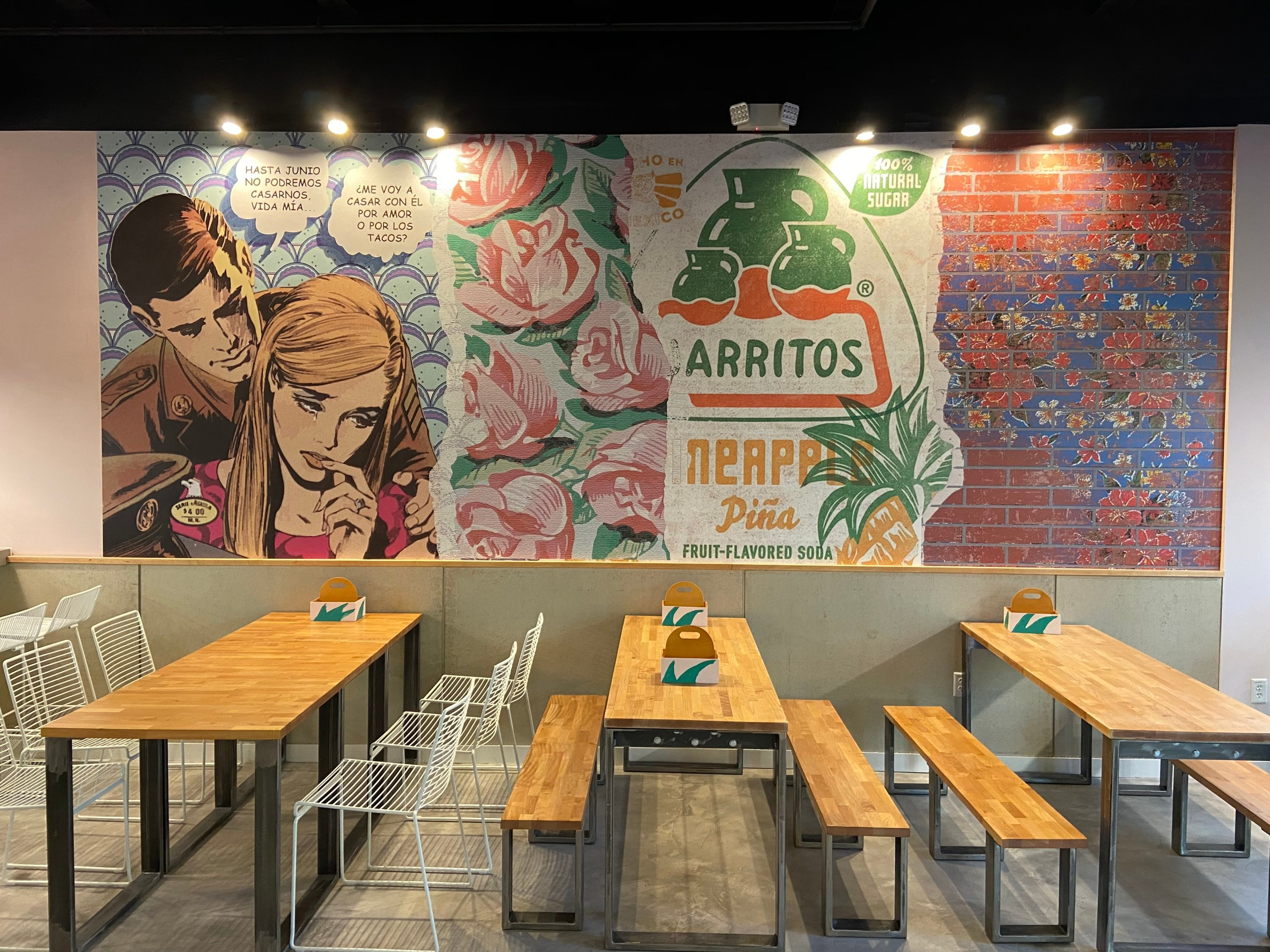 A mural in the dining area. Photo courtesy of Taco and Piña.