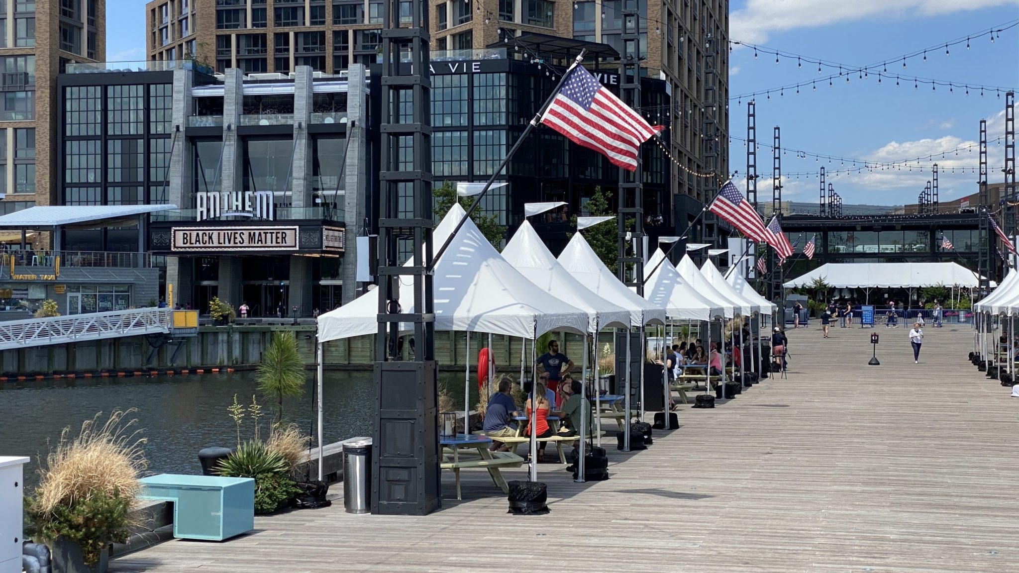 Cabanas are set up on District Pier at the Wharf. Photo courtesy of Camp Anthem.