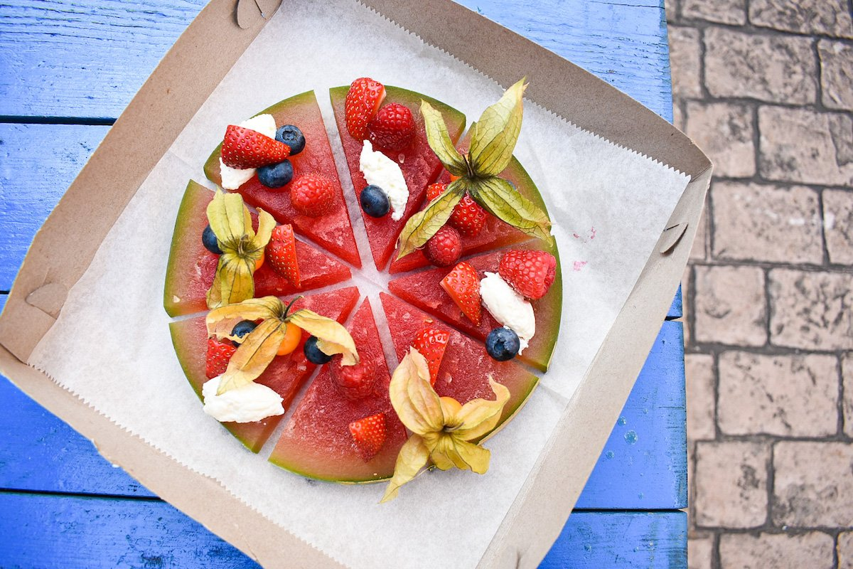 "Rum soaked ""watermelon pizza"" at Pier 1354. Photograph by Amanda Hoey."