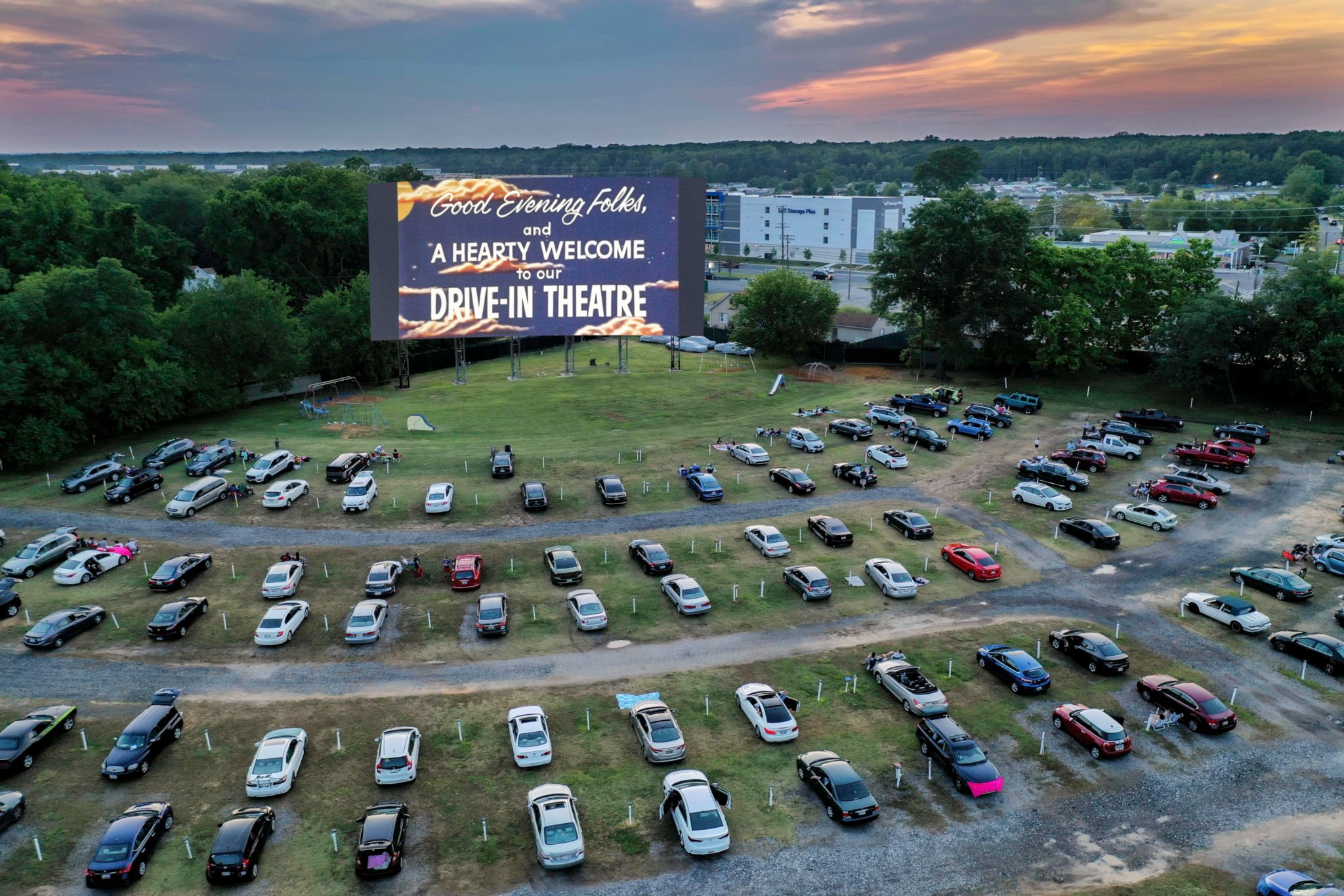 Check Out These Cool Aerial Drone Photos of a Drive-In Movie Theater