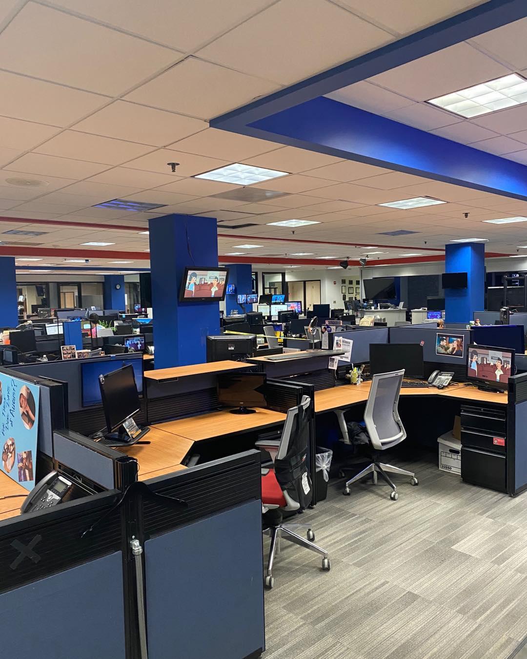 The empty Fox 5 newsroom. Photo courtesy of DC Public Library.
