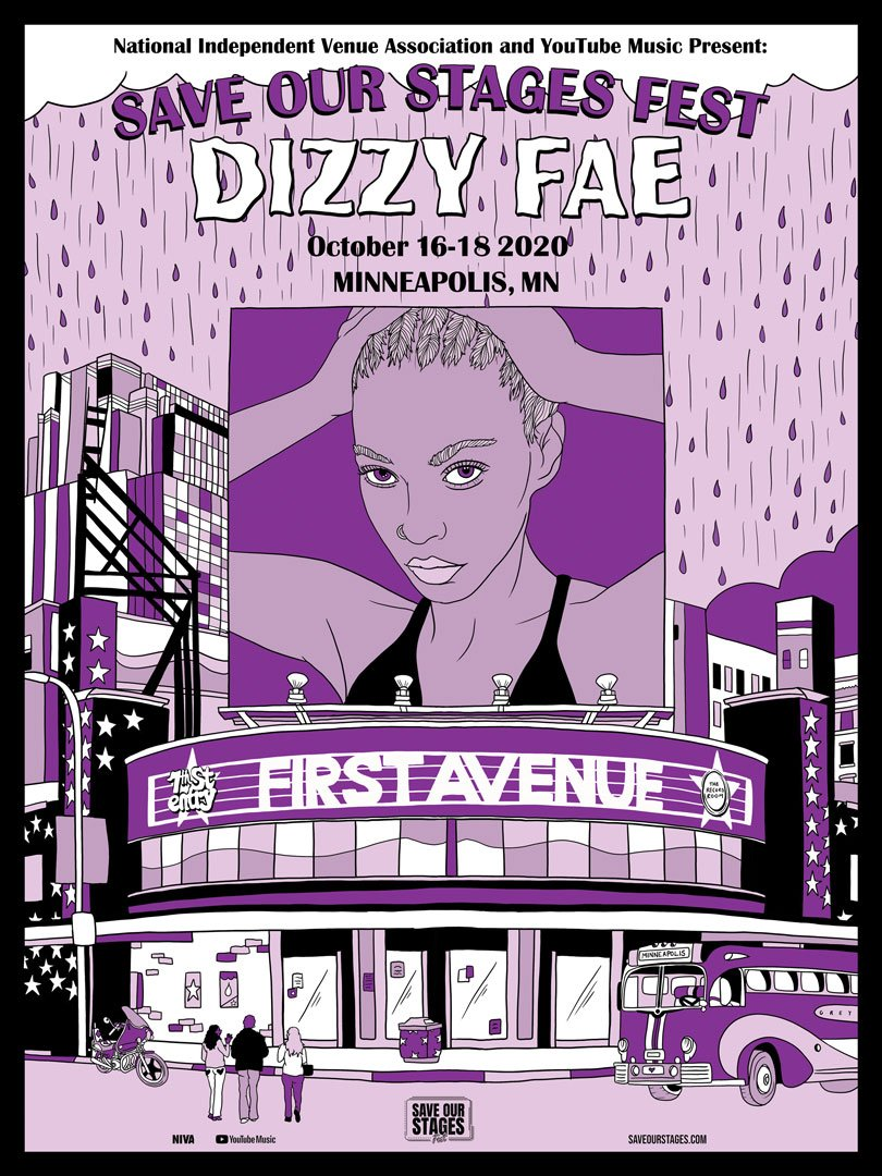 Dizzy Fae at First Avenue poster by Jess Rotter.