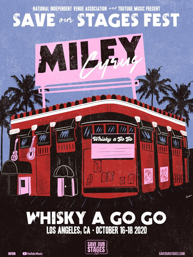 Miley Cyrus at Whiskey A Go Go poster by Corinne Dodenhoff