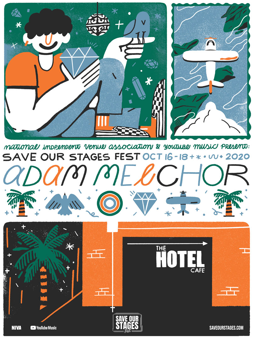 Adam Melchor at Hotel Cafe poster by Stephanie O'Byrne.