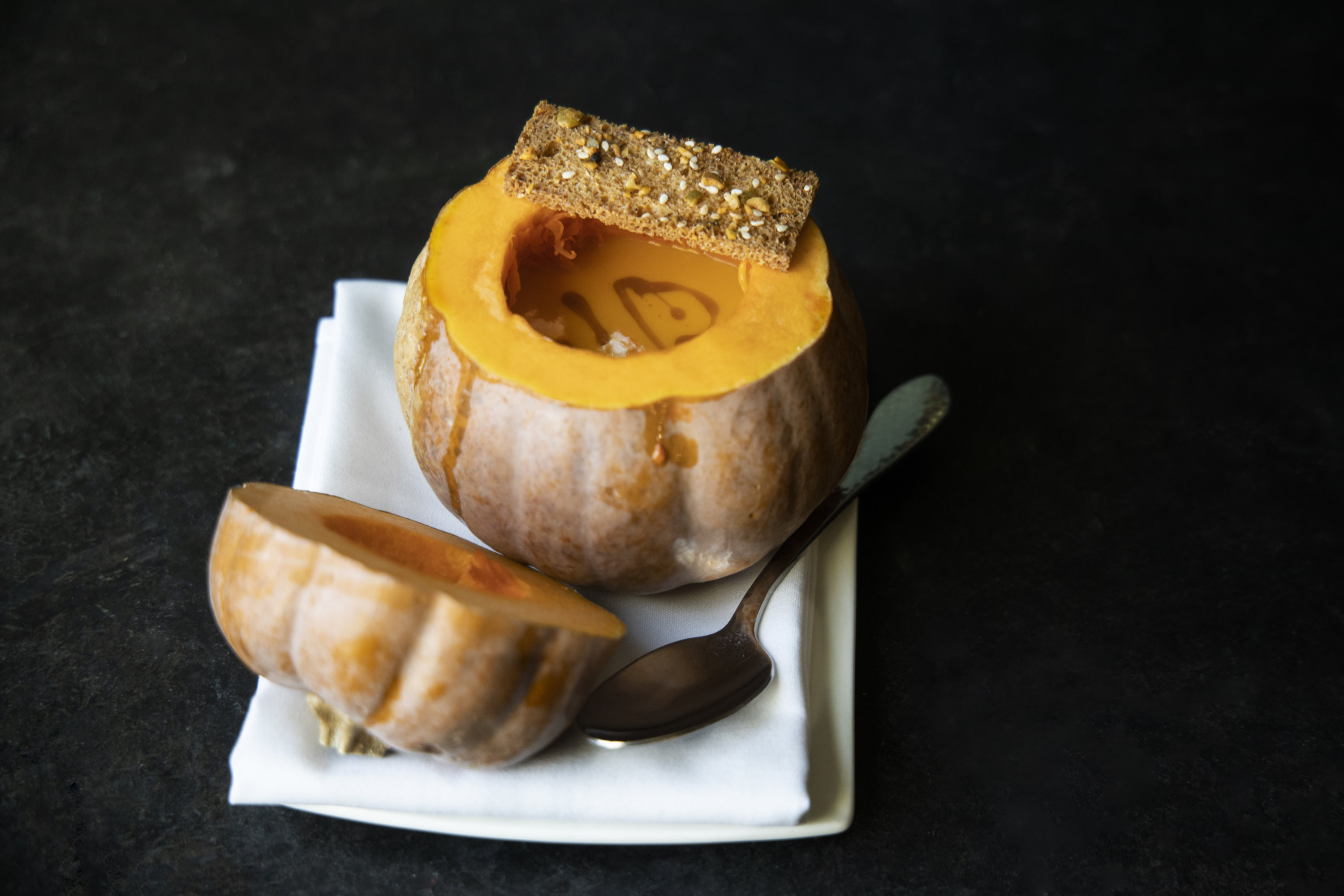 Koginut squash soup served in a koginut squash. Photo by Jennifer Chase.