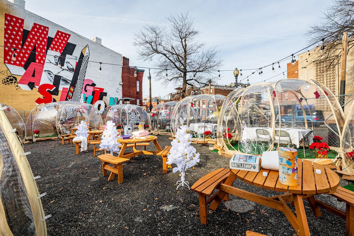 "HalfSmoke's ""Winter Wonderland"" igloos. Photo by Rey Lopez."
