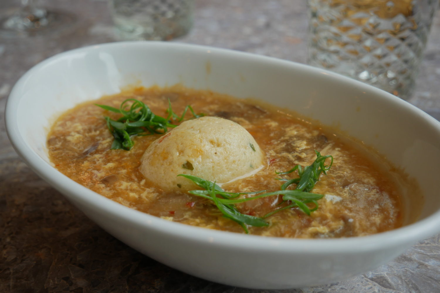 Matzo ball soup meets hot and sour soup. Photo courtesy of Stringray Kitchen.