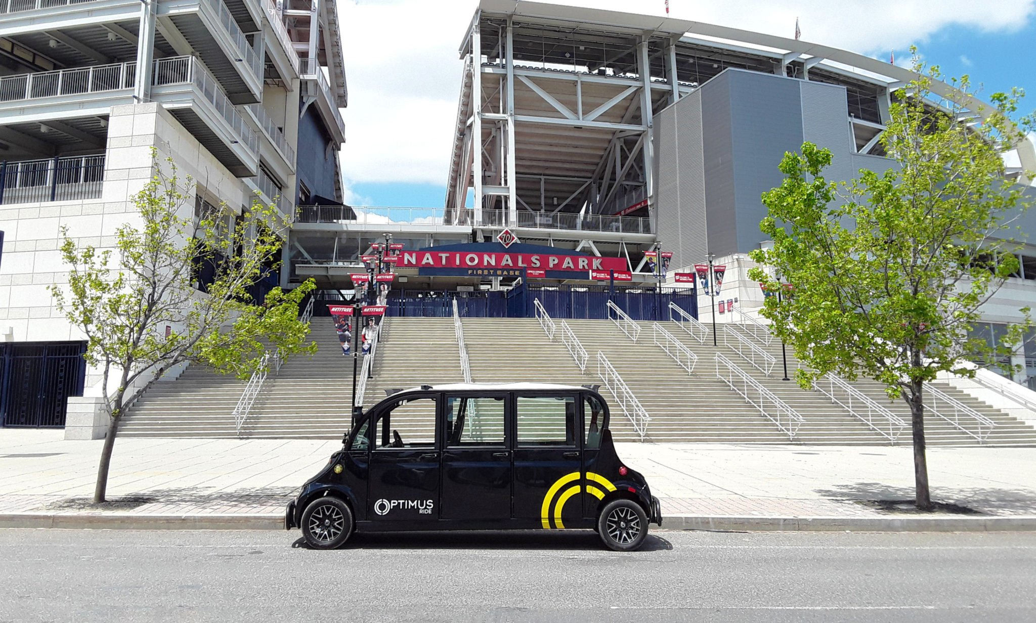 The car in front of Nats Park. Photo courtesy of the Yards and Optimus Ride.