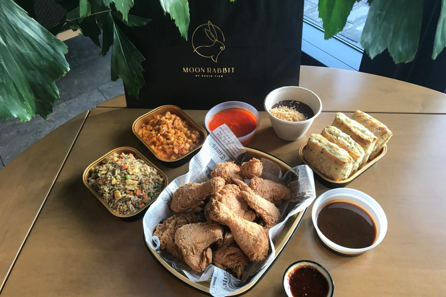 Order a to-go fried chicken dinner inspired by Cajun and Vietnamese flavors. Photo courtesy of Moon Rabbit.