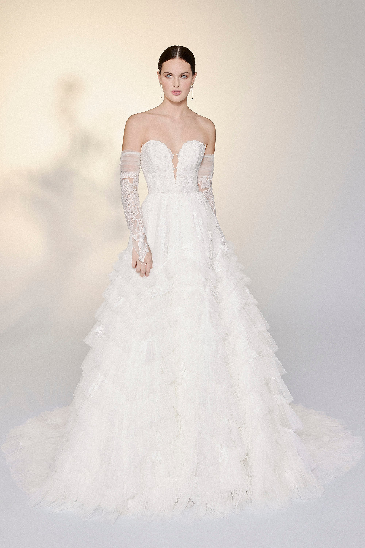 Ruffled wedding dresses that exude romance and style