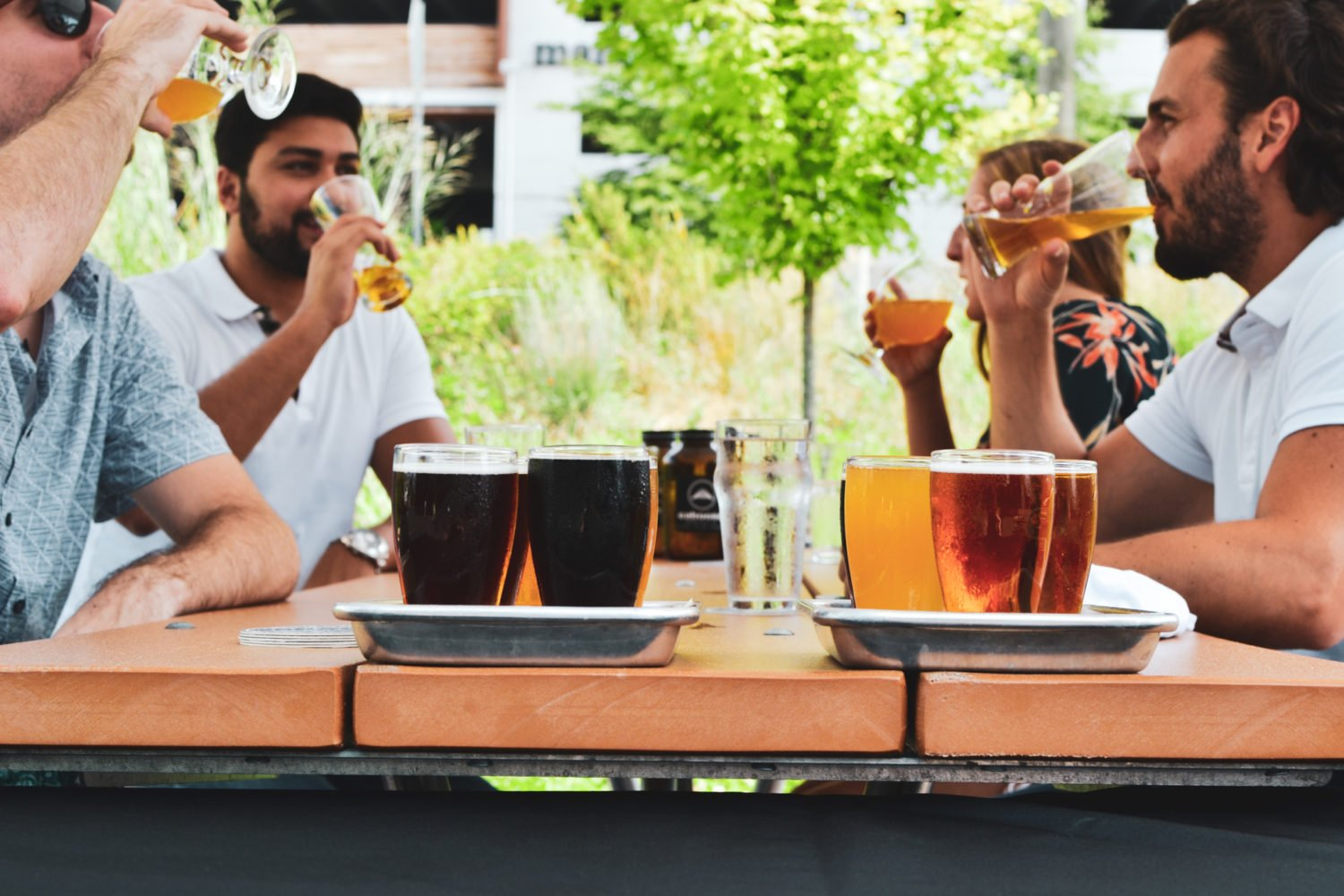 Sample beers from DC-area breweries at Caboose Commons' Springfest. Photo courtesy of Caboose Commons.