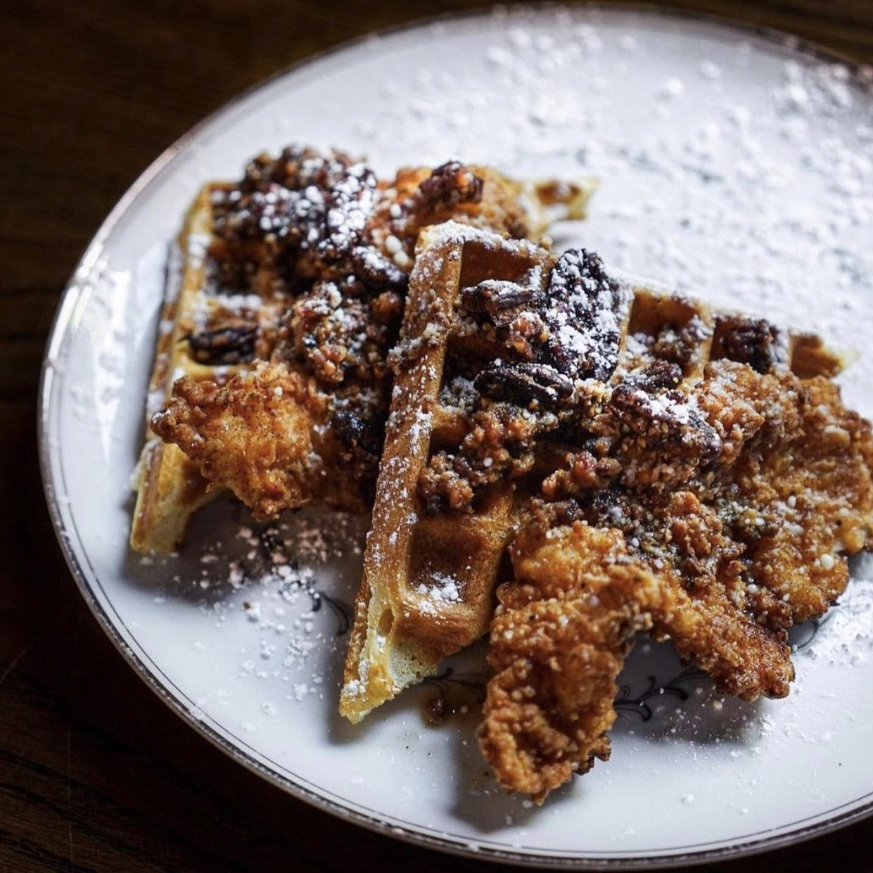 Chicken in waffles at Fight Club. Photo courtesy of Fight Club.