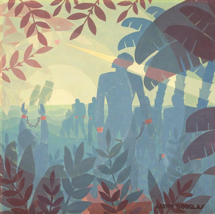 Aaron Douglas' Into Bondage, 1936. Image courtesy of National Gallery of Art.