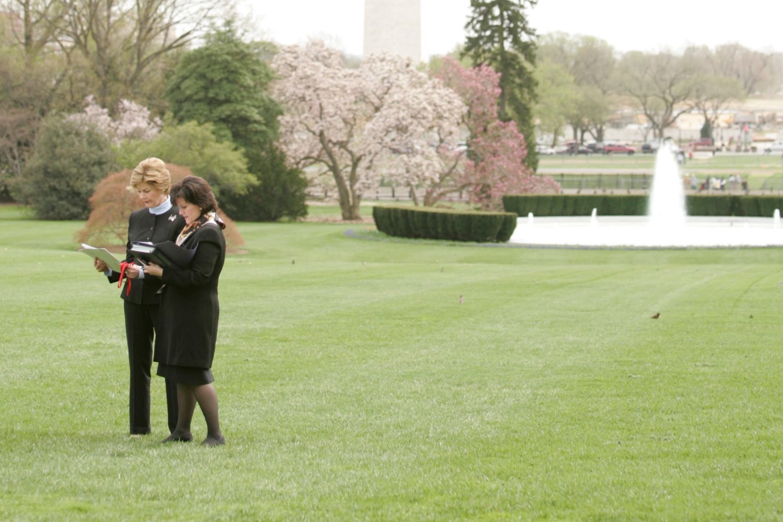 Anita McBride with her former boss Laura Bush in 2005. Photograph of McBride and Bush courtesy of Anita McBride.