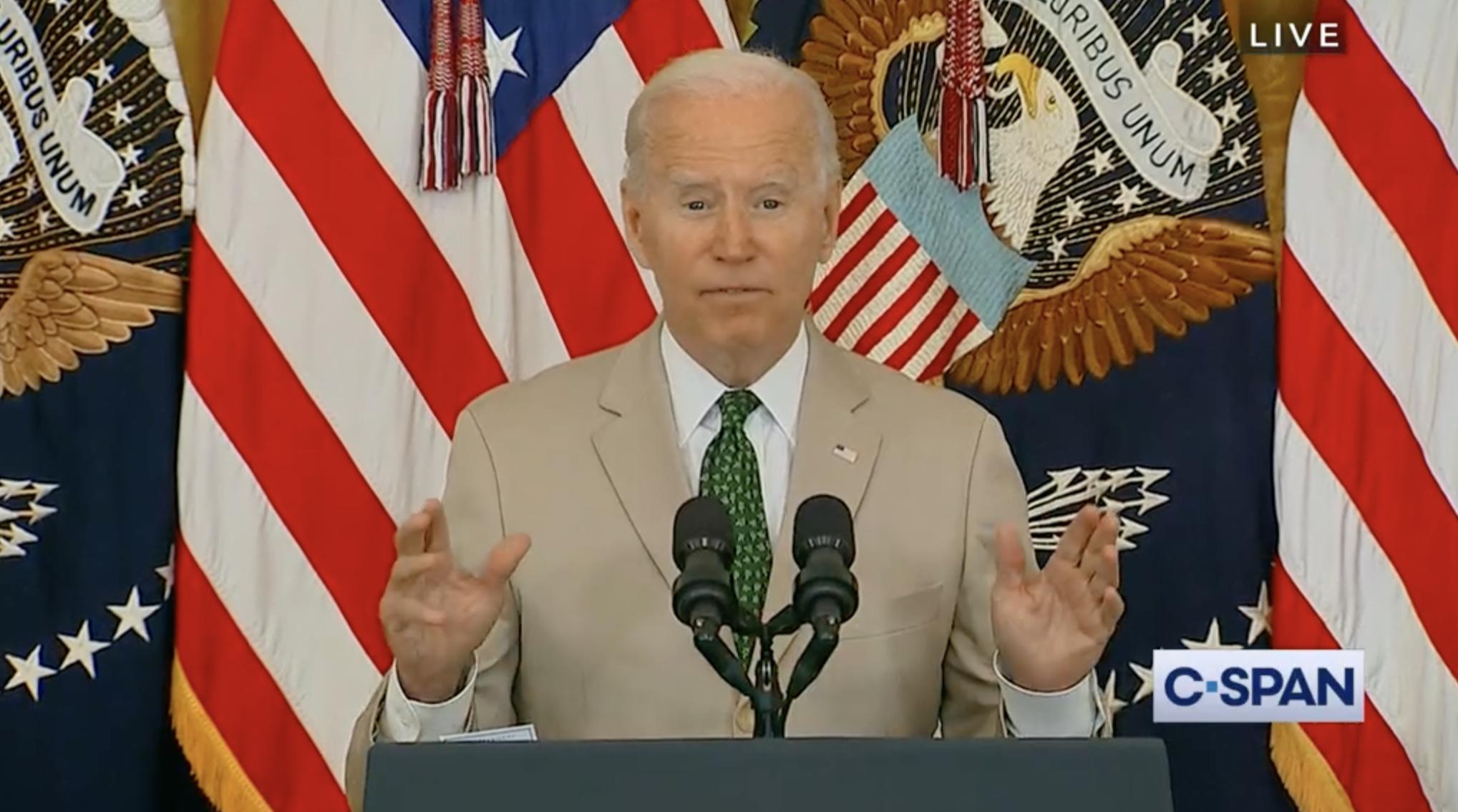 Screenshot of Joe Biden press conference on C-Span.